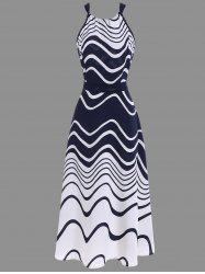 Ripple Print Tea Length Chiffon Halter Dress - BLUE