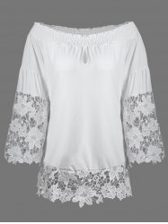 Lace Insert Off The Shoulder Blouse
