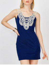 Lace Crochet Panel Bandage Mini Dress - DEEP BLUE