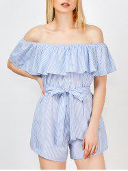 Off The Shoulder Ruffle Stripe Pants Romper - BLUE