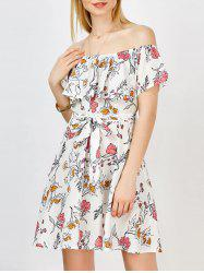 Casual Off the Shoulder Floral Summer Skater Dress