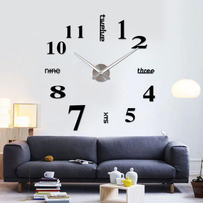 Home Decor DIY Analog Number Wall ClockHOME<br><br>Color: BLACK; Clock Type: Wall Clocks; Time Display: Analog; Style: Modern/Contemporary; Theme: Others; Material: Plastic; Weight: 0.6300kg; Package Contents: 1 x Wall Clock;