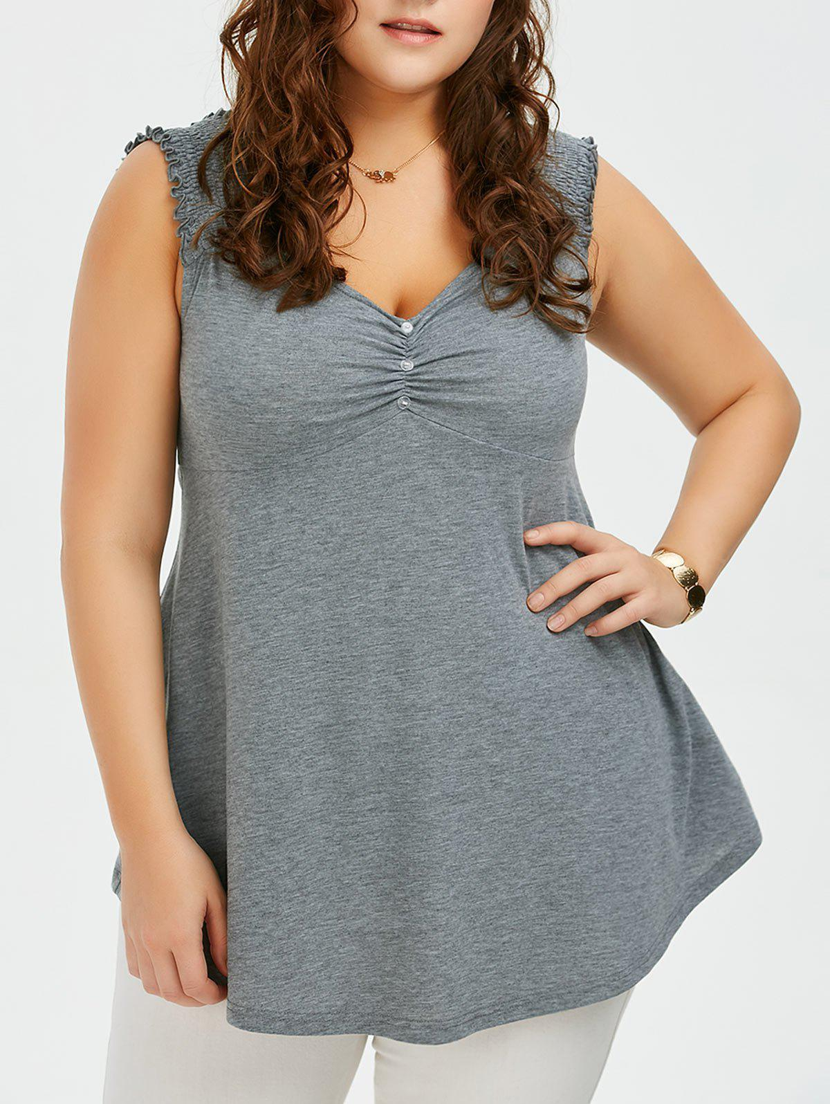 Plus Size Shirred Shoulder Design Babydoll Tank TopWOMEN<br><br>Size: 5XL; Color: GRAY; Material: Polyester,Spandex; Shirt Length: Regular; Sleeve Length: Sleeveless; Collar: V-Neck; Style: Casual; Season: Summer; Pattern Type: Solid; Weight: 0.3600kg; Package Contents: 1 x Tank Top;