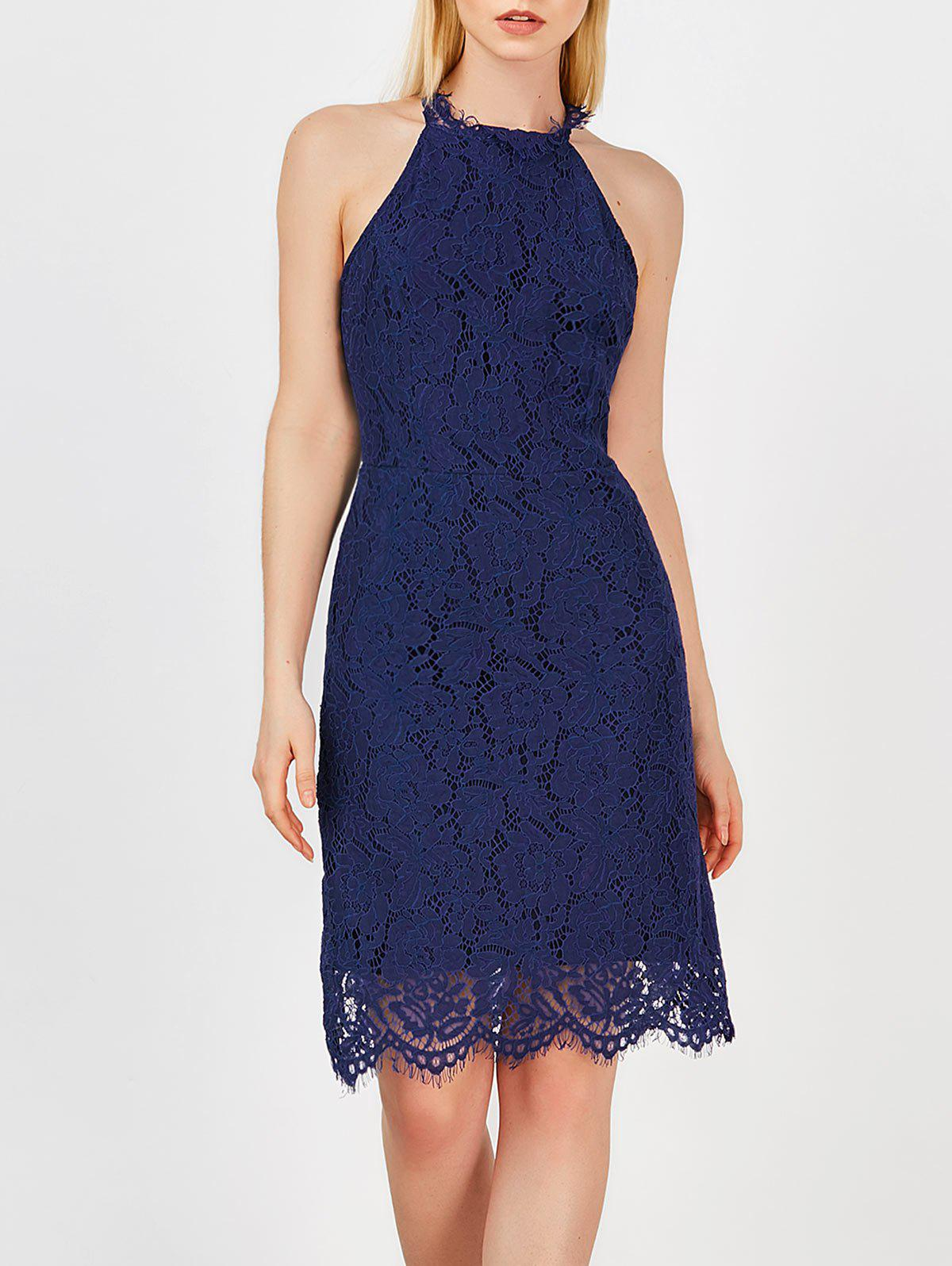 Unique Backless Sleeveless Lace Party Dress