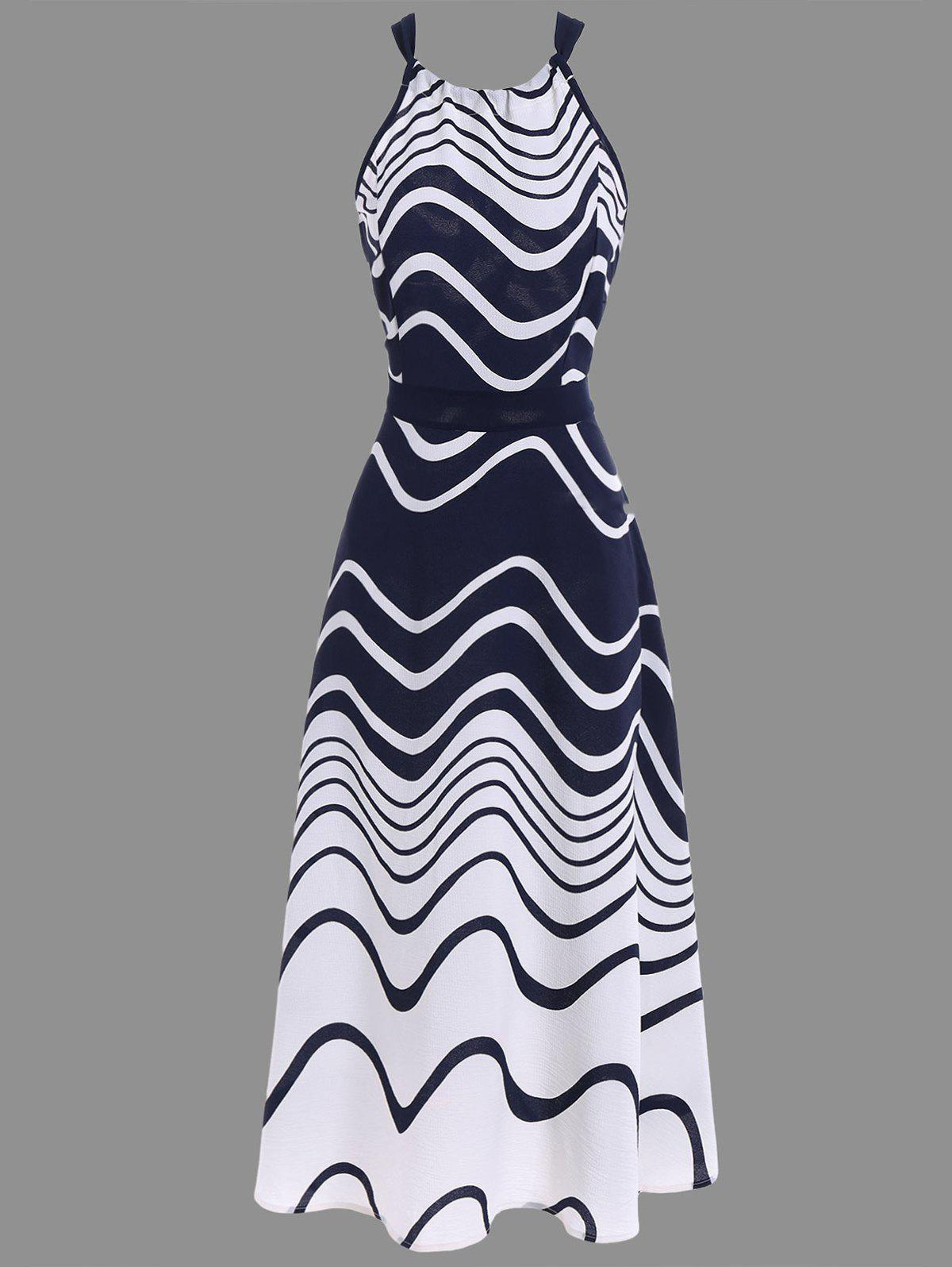 Buy Ripple Print Tea Length Chiffon Halter Dress