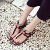 Faux Pearls PU Leather Sandals - BLACK 39