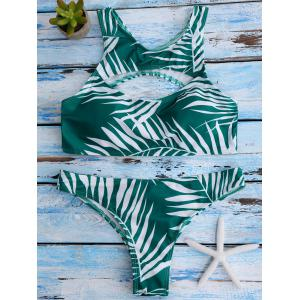 Cut Out Tropical Racerback Bikini Swimwear - GREEN S