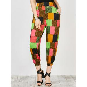 Pockets Color Block Trapeze Pants