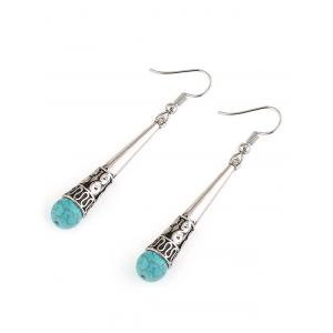Column Carved Bohemian Artificial Turquoise Drop Earrings - SILVER