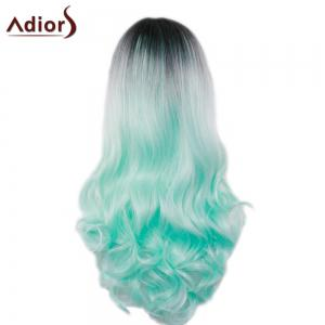Adiors Long Middle Part Gradient Wavy Synthetic Cosplay Lolita Wig - BLACK/GREEN