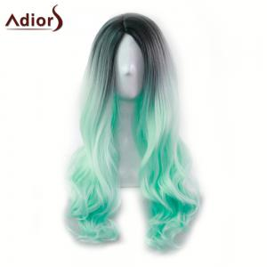 Adiors Long Middle Part Gradient Wavy Synthetic Cosplay Lolita Wig - BLACK AND GREEN