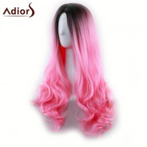 Adiors Long Middle Part Gradient Wavy Synthetic Cosplay Lolita Wig - BLACK/RED