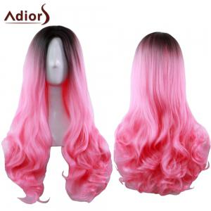 Adiors Long Middle Part Gradient Wavy Synthetic Cosplay Lolita Wig - Black And Red