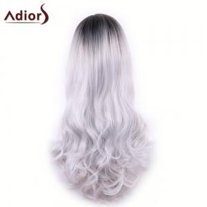 Adiors Long Middle Part Gradient Wavy Synthetic Cosplay Lolita Wig -