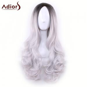 Adiors Long Middle Part Gradient Wavy Synthetic Cosplay Lolita Wig - BLACK GREY