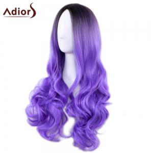 Adiors Long Middle Part Gradient Wavy Synthetic Cosplay Lolita Wig - BLACK/PURPLE