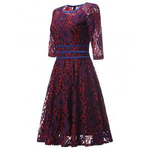 Lace Floral Vintage Cocktail Dress - RED XL