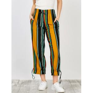 High Waisted Striped Drawstring Wide Leg Pants