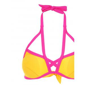 Two Tone Criss Cross Halter Bikini - YELLOW L