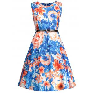 Sleeveless Floral Print Vintage Swing Dress