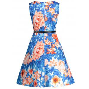 Sleeveless Floral Print Vintage Swing Dress - BLUE S
