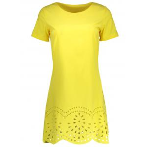 Hollow Out Scalloped Casual Mini Dress