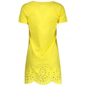 Hollow Out Scalloped Casual Mini Dress - YELLOW S