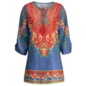 Bohemian Drawstring Print Tunic Shift Dress