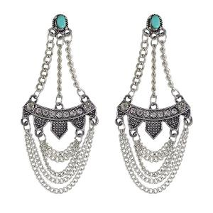 Rhinestone Faux Turquoise Geometric Fringed Earrings - Silver