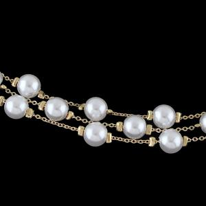 Layered Faux Pearl Chain Bracelet -