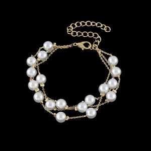 Layered Faux Pearl Chain Bracelet - White