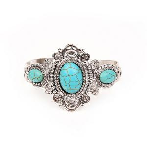 Vintage Faux Turquoise Oval Cuff Bracelet - Silver - M