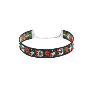 Flower Embroidery Vintage Choker Necklace Set - MULTICOLOR