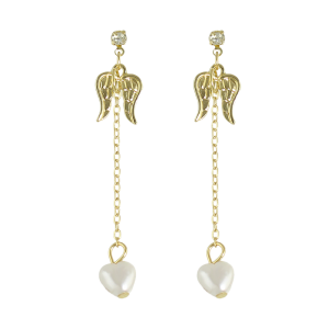 Rhinestone Artificial Pearl Angel Wings Earrings