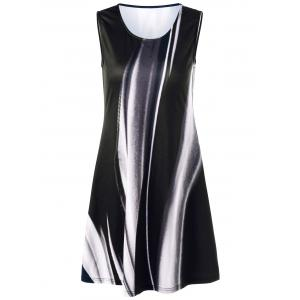 Tie Dye Sleeveless Dress - Black - M