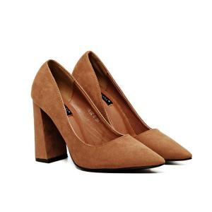 Pointed Toe Chunky Heel Pumps - Brown - 37