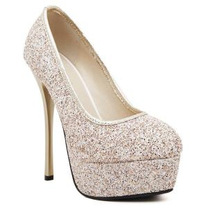 Mini Heel Sequined Platform Pumps - Golden - 39