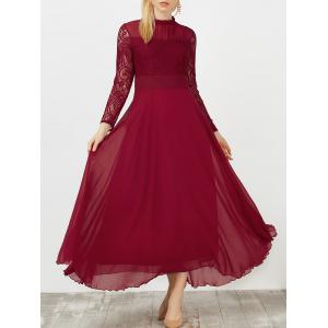 Lace Panel Chiffon Swing Long Prom Dress - Wine Red - S
