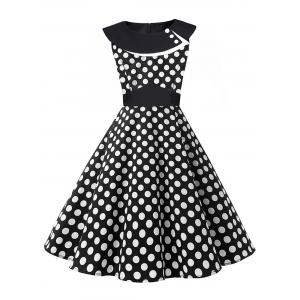Vintage Polka Dot Pin Up Dress - White And Black - S