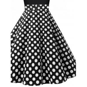 Vintage Polka Dot Pin Up Dress - WHITE/BLACK 2XL