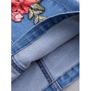 Button Up patché Floral Jean Jupe - Bleu S