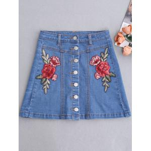 Button Up Patched Floral Jean Skirt - BLUE S