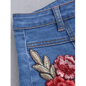 Button Up Patched Floral Jean Skirt - BLUE M