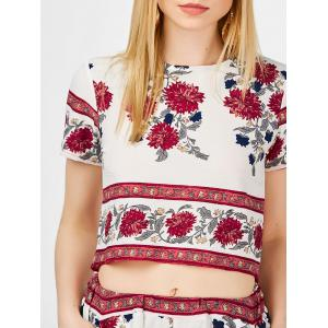 High Waist Shorts with Floral Crop Top -