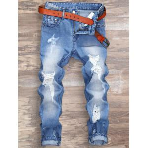 Zipper Fly Distressed Nine Minutes of Jeans - Light Blue - 32
