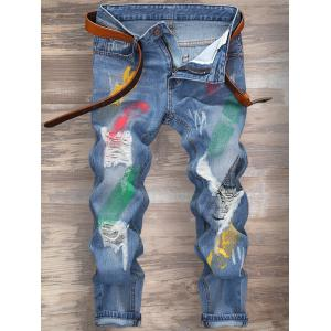 Cuffed Splatter Paint Jeans - Light Blue - 32