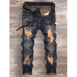 Cuffed Ripped Design Nine Minutes of Jeans - Denim Blue - 36