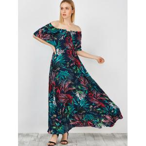 Off Shoulder Maxi Print Swing Capelet Dress -