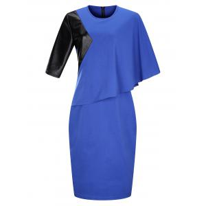 Plus Size Block Panel Overlay Sheath Midi Work Dress - Blue - 6xl