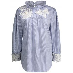 Plus Size Ruffled Stripe Lace Embroidered  Shirt - Blue - 4xl